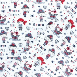 Poppy cotton Fabric - white Sea adventure x 10cm