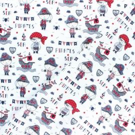 Tissu coton Popeline Poppy Sea pirates - blanc x 10cm