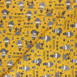 Poppy poplin cotton Fabric - mustard yellow Sea Pirates x 10cm