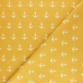 Tissu coton Popeline Poppy Anchor Party - moutarde x 10cm