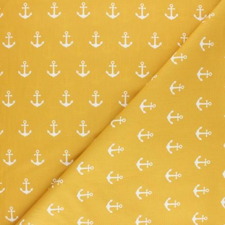 Poppy poplin cotton Fabric - mustard yellow Sea Pirates x 10cm