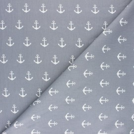 Tissu coton Popeline Poppy Anchor Party - gris x 10cm
