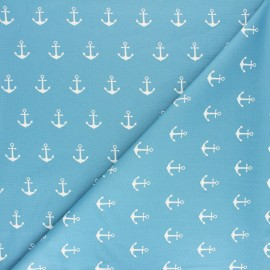 Poppy poplin cotton Fabric - grey Anchor Party x 10cm