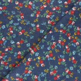 Chambray denim fabric - Orange Pluie de Fraises x 10cm