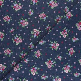 ♥ Coupon 10 cm X 145 cm ♥ Chambray denim fabric - Dark blue Sweet Flowers