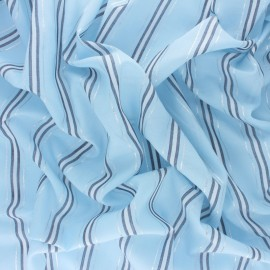 Striped Lurex Cotton Voile Fabric - blue Salinas x 10cm