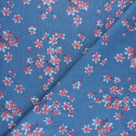 Chambray denim fabric - Dark blue Sweet Flowers x 10cm