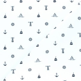 Cotton poplin fabric - white Esprit Marin x 10cm