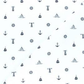 Tissu coton popeline Esprit Marin - blanc x 10cm