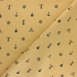 Tissu coton popeline Esprit Marin - moutarde x 10cm