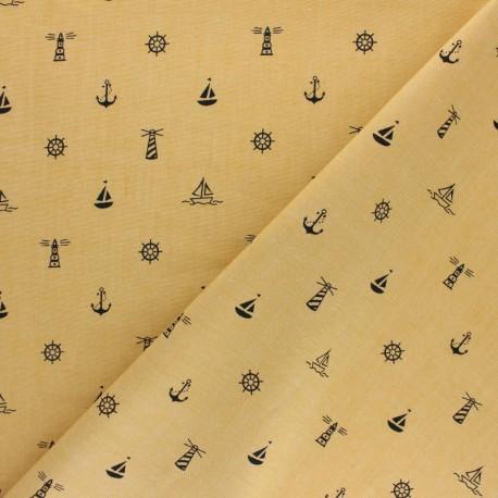 Cotton poplin fabric - mustard yellow Esprit Marin x 10cm