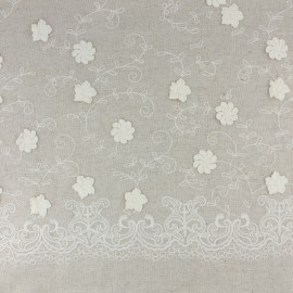 Embroidered linen and viscose fabric - white Sidonie x 10 cm