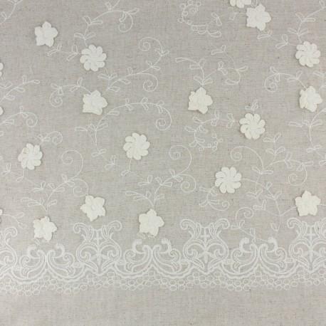 Tissu lin viscose brodé Sidonie - naturel x 10 cm