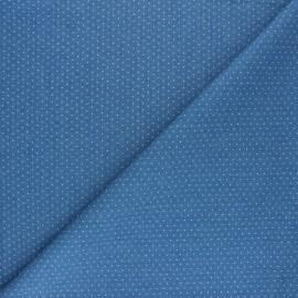 ♥ Coupon 130 cm X 145 cm ♥  Fluid jeans fabric Pluie de Pois - Light blue