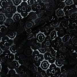 Elastane Lace Fabric - black Adelaïde x 10cm