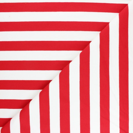 Striped French terry fabric - red Honfleur x 10cm