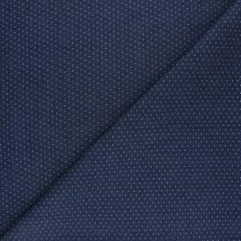 Tissu Jeans fluide Pluie de Pois - Bleu foncé x 10cm