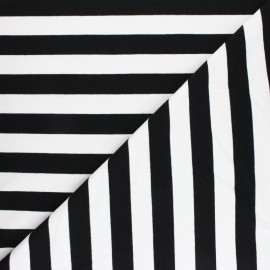 Striped French terry fabric - black Honfleur x 10cm
