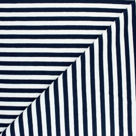 Striped French terry fabric - night blue Dinard x 10cm