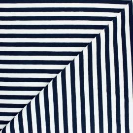 Tissu Sweat léger rayé Dinard - bleu nuit x 10cm