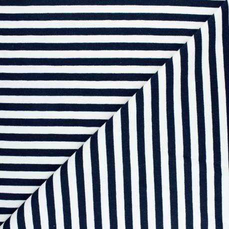Striped French terry fabric - Navy blue Dinard x 10cm