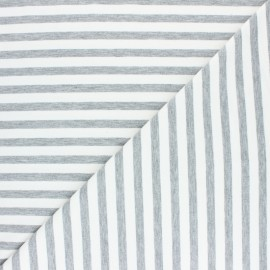 Striped French terry fabric - grey Dinard x 10cm