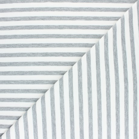 Striped French terry fabric - red Dinard x 10cm
