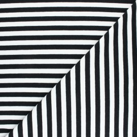 Striped French terry fabric - black Dinard x 10cm