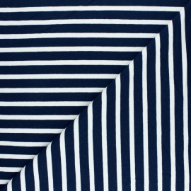 Striped French terry fabric - Navy blue Dinard x 10cm