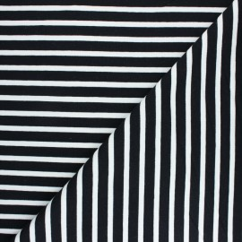 Striped French terry fabric - black Noirmoutier x 10cm
