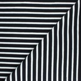Tissu Sweat léger rayé Noirmoutier - noir x 10cm