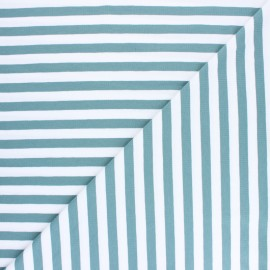 Tissu jersey à rayures Lacanau - vert eucalyptus x 10cm