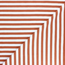 Striped Cotton Jersey fabric - rust red Lacanau x 10cm