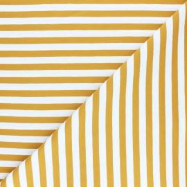 Striped Cotton Jersey fabric - ochre Lacanau x 10cm