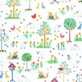 Tissu coton Makower UK Spring Garden - Bleu x 10cm