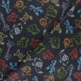Tissu coton Makower UK Jungle Friends - bleu x 10cm