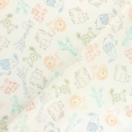 Tissu coton Makower UK Jungle Friends Outline - écru x 10cm
