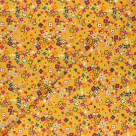 Cotton Jersey fabric - Yellow Colorful Flowers x 10cm