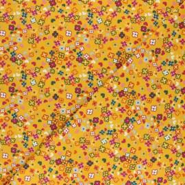 Tissu jersey de coton Colorful Flowers - Jaune x 10cm