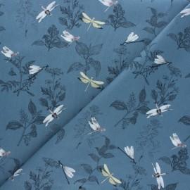 Cotton poplin fabric - Blue Libellule x 10cm