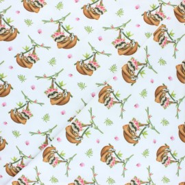 Stenzo Jersey cotton fabric - white paresseux x 10cm