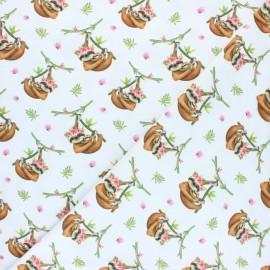 Tissu coton jersey Stenzo paresseux - blanc x 10cm