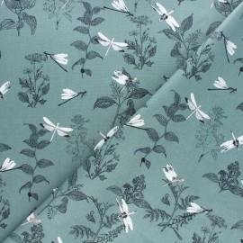 Cotton poplin fabric - White Libellule x 10cm