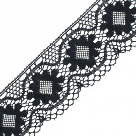 75 mm lace ribbon - Black Albertine x 1m