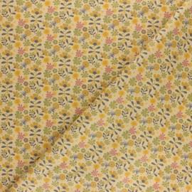 Tissu popeline de coton Flower Garden - Jaune x 10cm