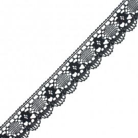 Ruban dentelle festonné Angèle - Noir x 1m