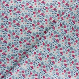 Cotton poplin fabric - Sage green Flower Garden x 10cm