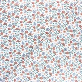 Tissu popeline de coton Flower Garden - Blanc x 10cm