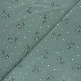 Tissu coton lavé Swan Le Cygne - Vert x 10cm