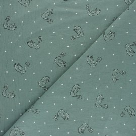 Washed cotton fabric - Off-white Swan Le Cygne x 10cm